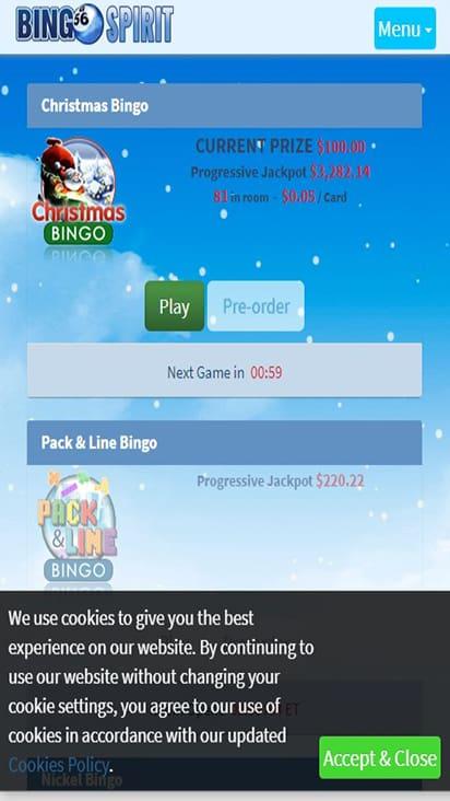 Bingo Spirit game mobile