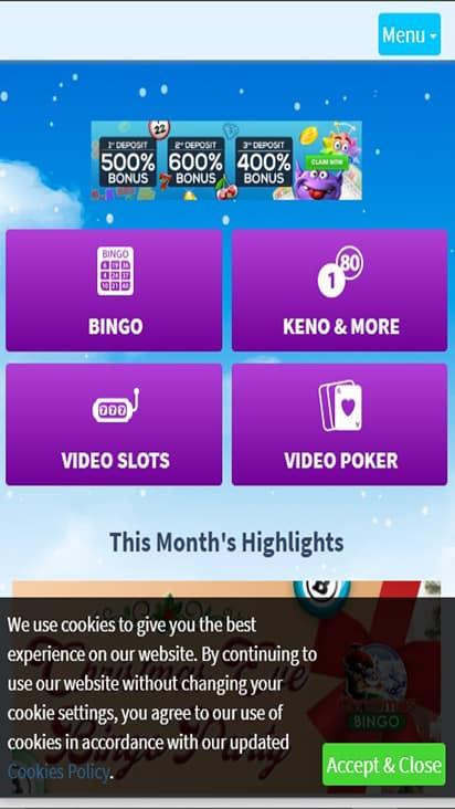 Bingo Spirit home mobile