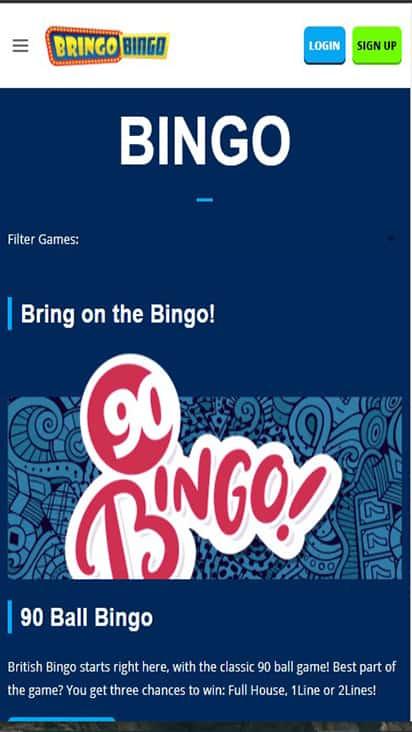 Bringo Bingo game mobile