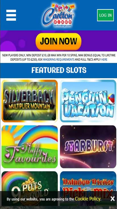 Carlton Bingo game mobile