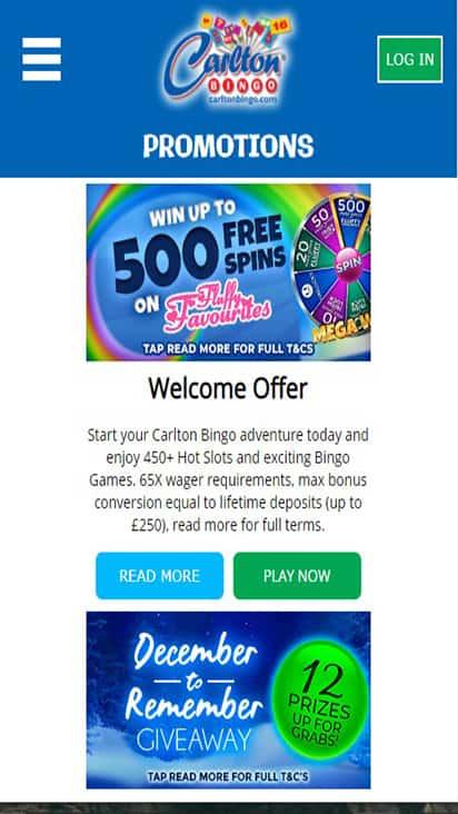 Carlton Bingo promo mobile
