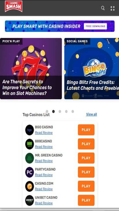 Casino Smash home mobile