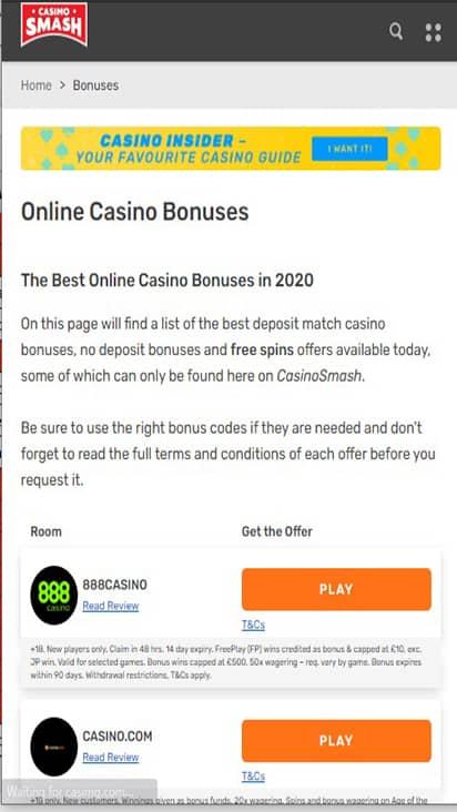 Casino Smash promo mobile