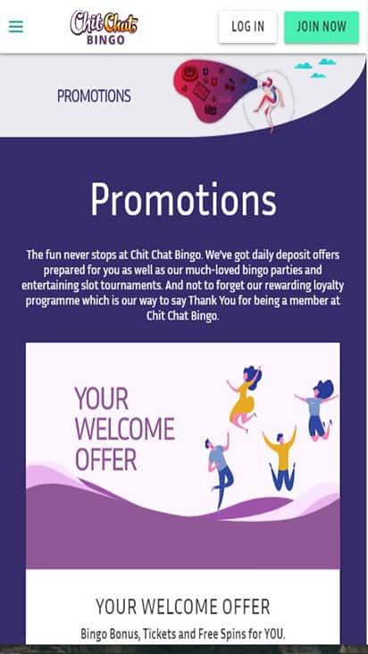 Chit Chat Bingo promo mobile