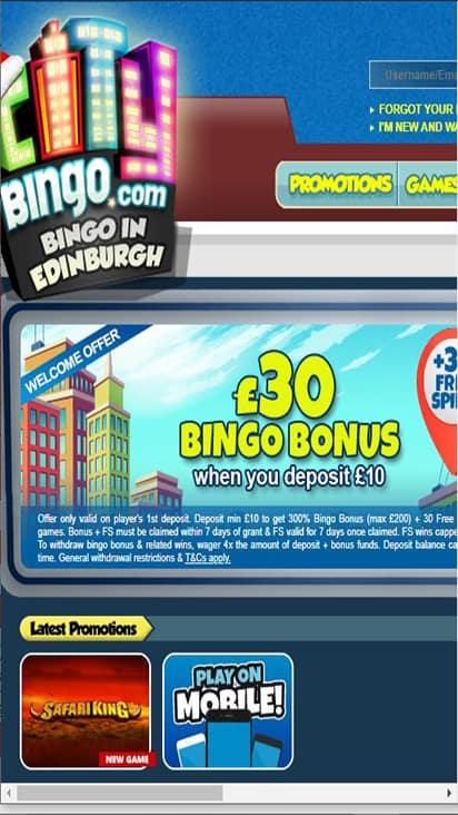 City Bingo home mobile