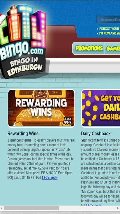 City Bingo promo mobile