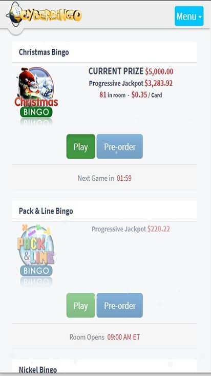 Cyber Bingo game mobile