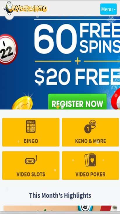 Cyber Bingo home mobile