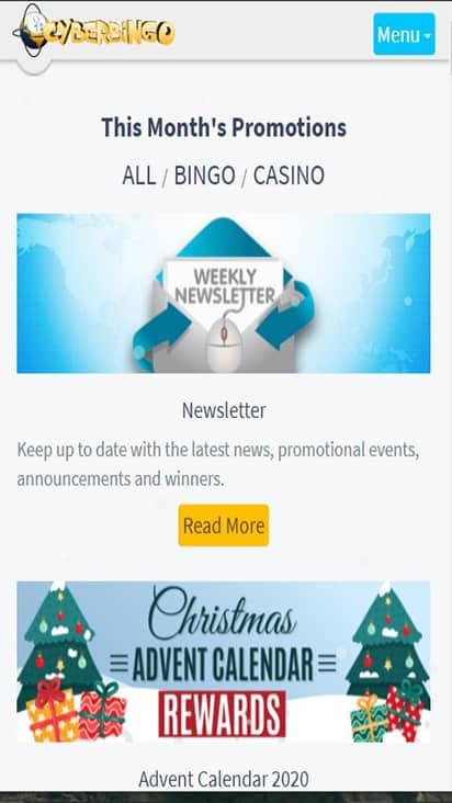 Cyber Bingo promo mobile