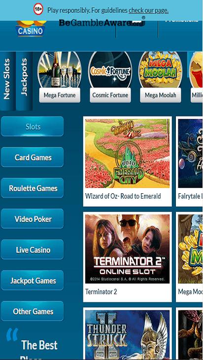 EUCasino game mobile