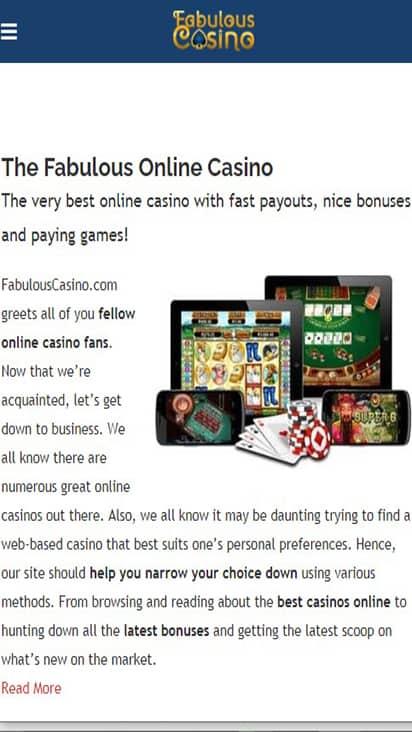 Fabulous Casino home mobile