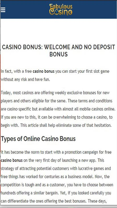 Fabulous Casino promo mobile