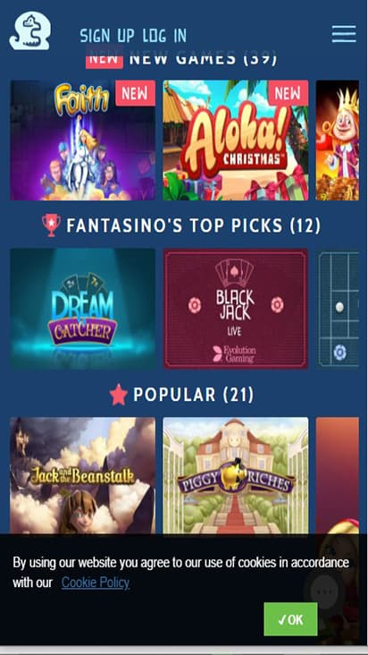 Fantasino game mobile