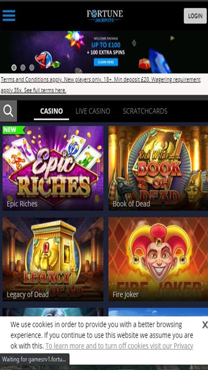 Fortune Jackpots home mobile