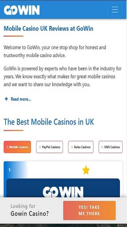 Go Win Casino home mobile