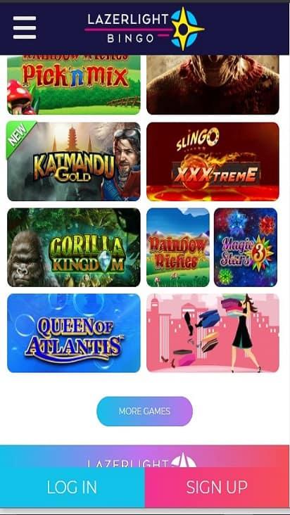 Lazer Light Bingo game mobile