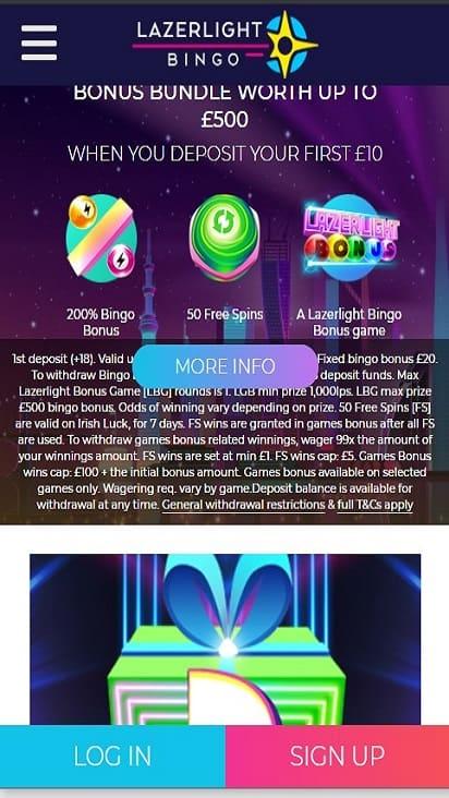 Lazer Light Bingo promo mobile