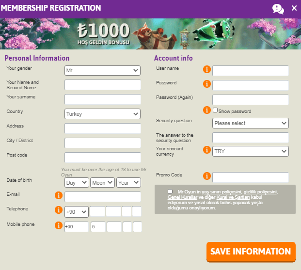 Mroyun signup page