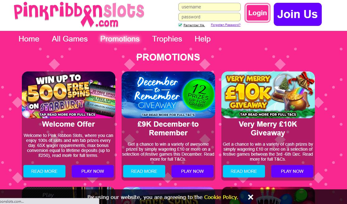 Pink Ribbon Slot  Promotions