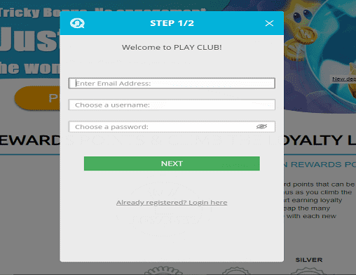 green play sign up page