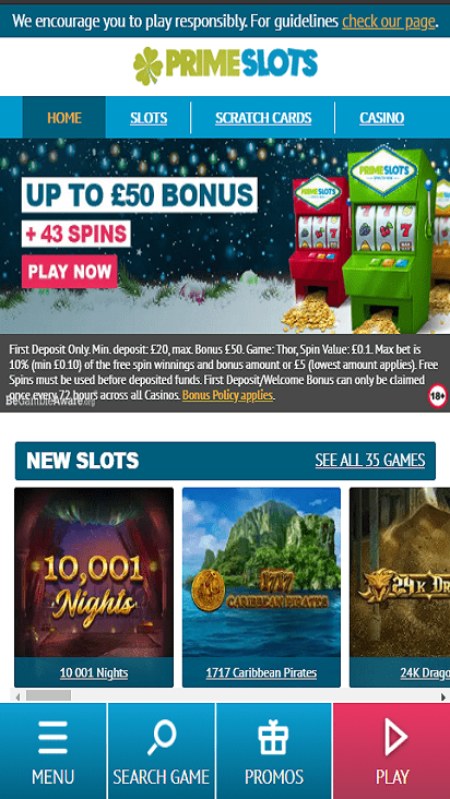 PrimeSlots home mobile
