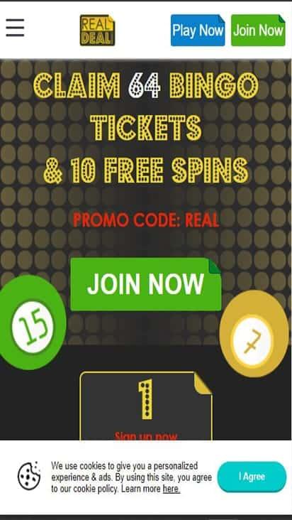 Real Deal Bingo home mobile