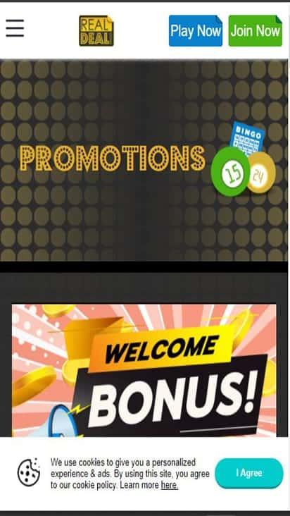 Real Deal Bingo promo mobile