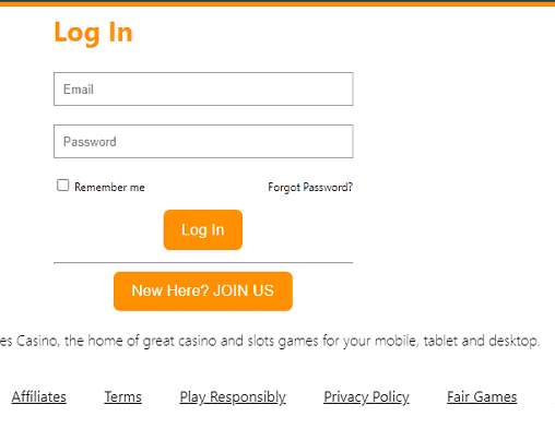 Kerching login page