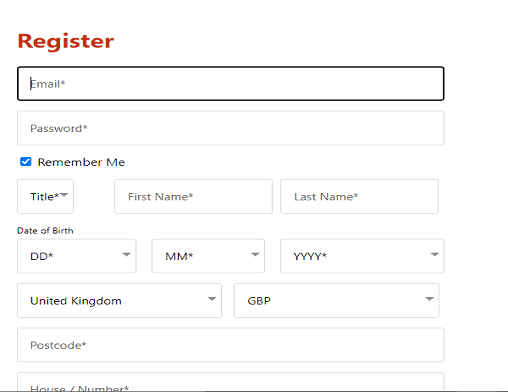 Kerching sign up page