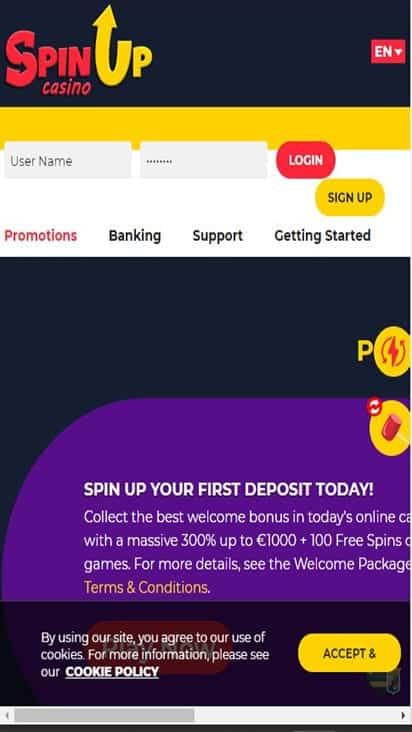 Spinup Casino promo moible