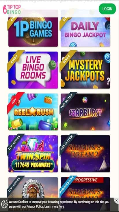 Tip Top Bingo game mobile