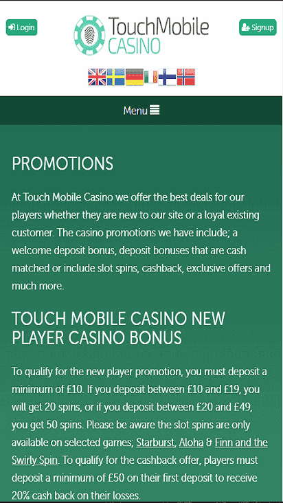 TouchMobileCasino pomo mobile