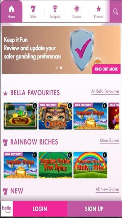 bella casino home mobile
