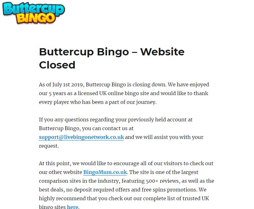 buttercup bingo home CLOSED