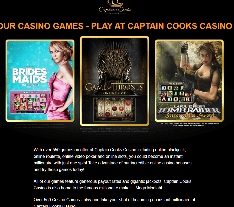 captaincooks casino games