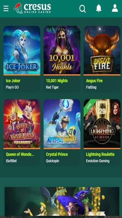 cresus casino game mobile