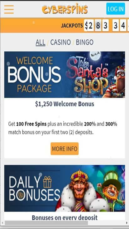 cyberspins promo mobile