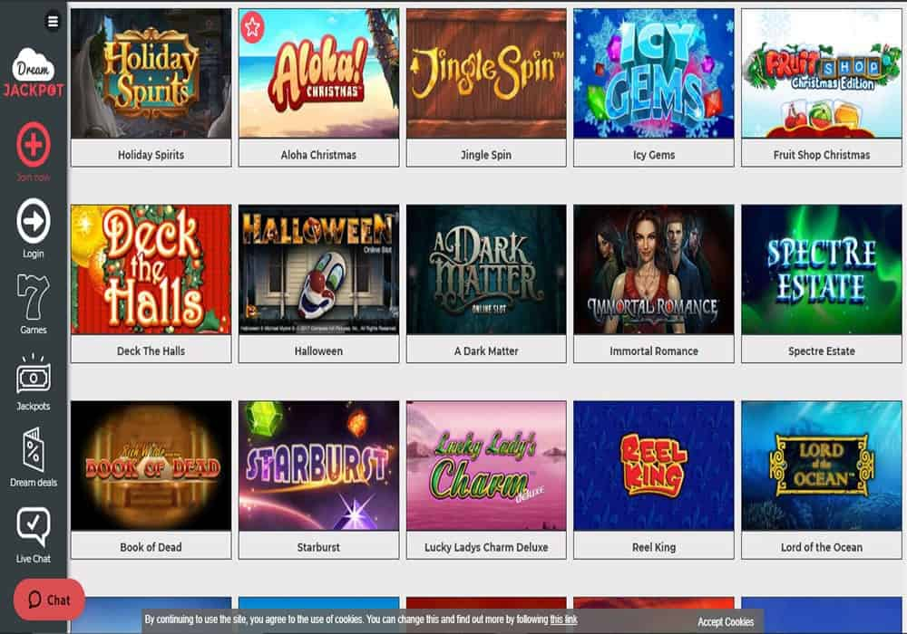 Dream Vegas games page
