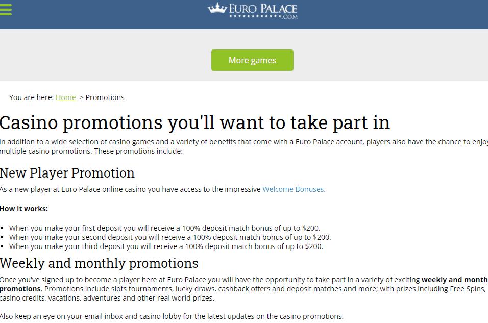 euro palace prmotions