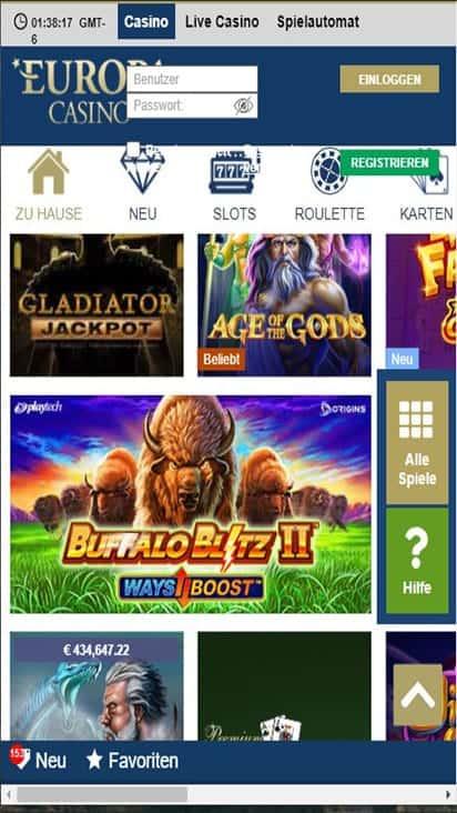 europa casino game mobile