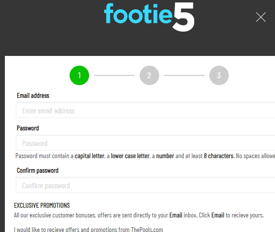 footie5 sign up