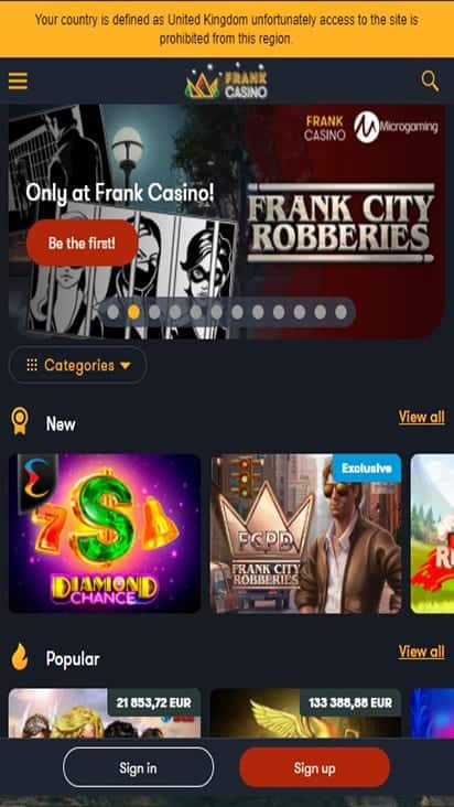 frankclubcasino home mobile