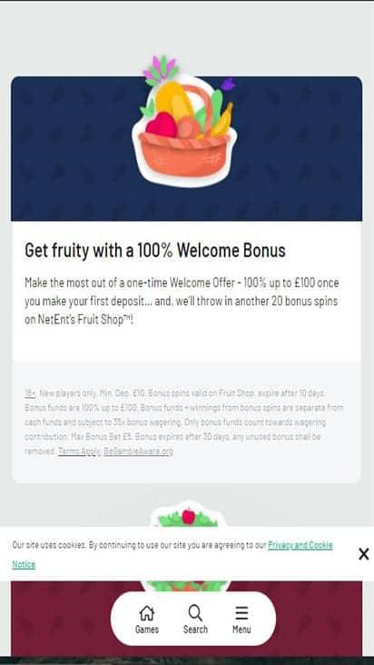 fruity casa promo mobile