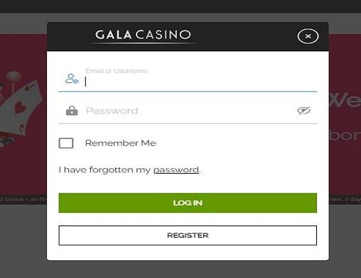 Gala Casino login page