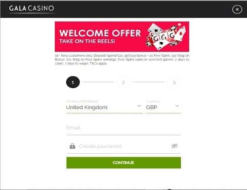 Gala Casino sign up page