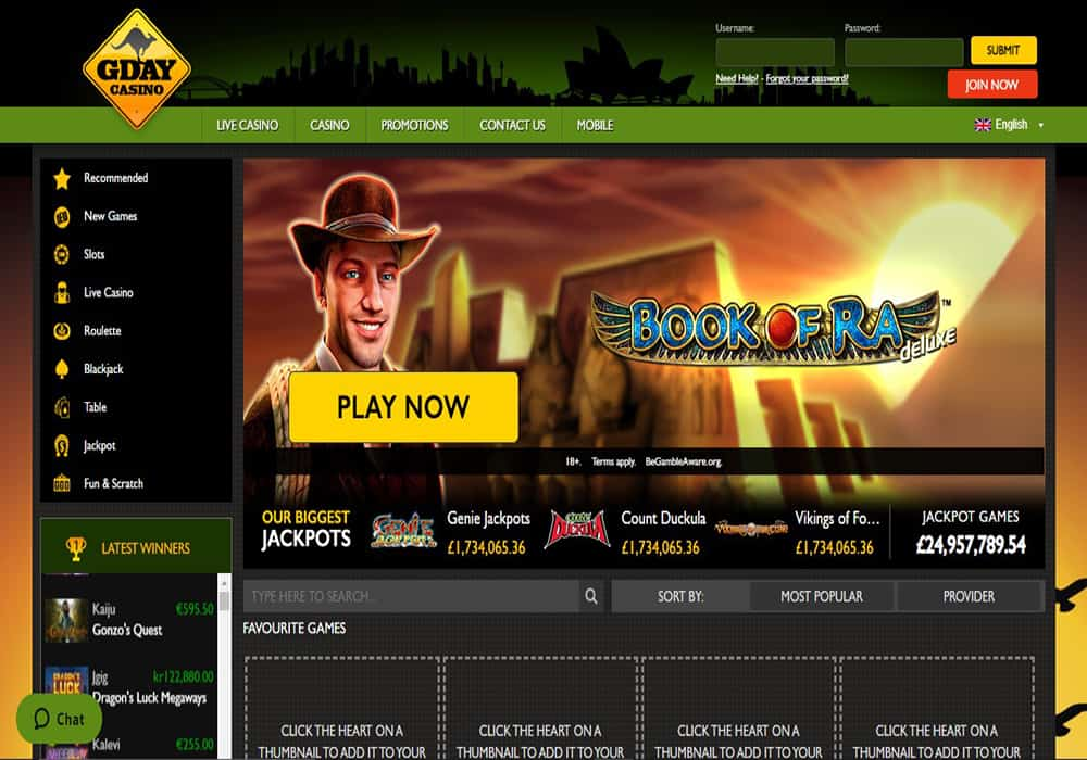 Dream Vegas home page