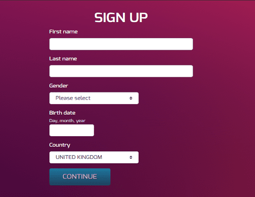 Dream Vegas sign up page