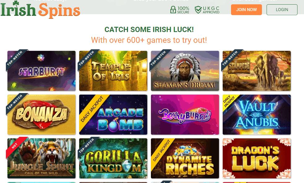 irish spins games