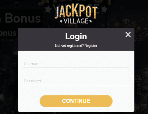 Dream Vegas login page