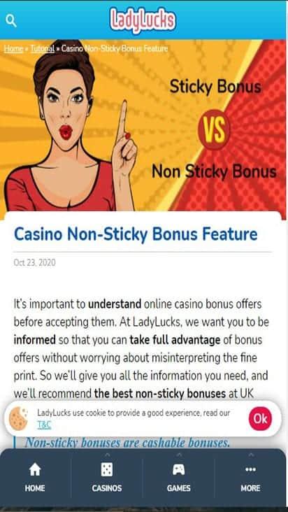lady lucks promo moible